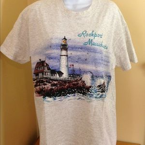 Vintage Rockport Mass Lighthouse Tshirt Sz L